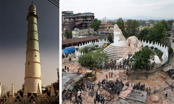 位於加德滿都的達拉哈拉幾乎完全倒塌(Image Credit: Wikipedia & EPA)