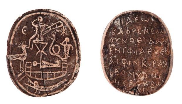 出土於帕弗古市集的護身符,年代約為西元5至6世紀。(Courtesy Joachim Śliwa)