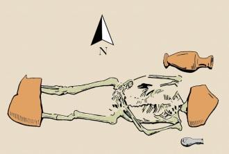 卡馬利那墳場中的一具骸骨,頭和腳都被大型陶器碎片壓著。此圖依照考古學家繪於筆記中的素描而繪製。(Credit: Drawing by D. Weiss from G. Di Stefano's excavation journals)