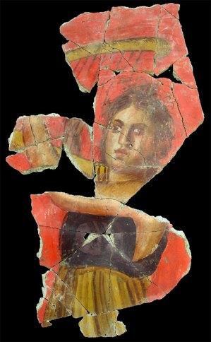 描繪一名彈奏豎琴女子的羅馬帝國壁畫,出土於法國南部的阿爾勒。(Julien Boislève, Inrap/Musée Départemental Arles Antique)