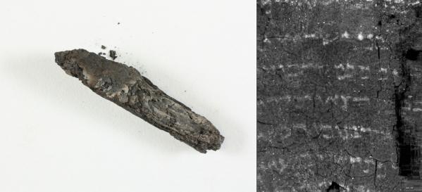 隱基底古卷,左圖為外觀,右圖為斷層掃描顯示的內文。(Israel Antiquities Authority, University of Kentucky)