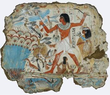 這是在底比斯的內巴蒙之墓(Tomb of Nebamun,新王國時期)發現的壁畫,描繪了高官內巴蒙帶著妻、女及一隻貓,享受獵捕禽鳥的休閒活動,以此暗指他來世生活的豐厚。現藏於大英博物館。