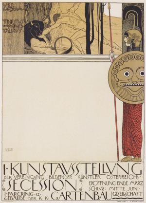 第一屆維也納分離派畫展,克林姆設計的海報以牛頭人身怪及提修斯暗喻著保守派與新藝術派之間的對抗。