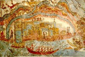 被火山灰掩埋的阿克羅提利古城,有許多完整壁畫出土,提供了寶貴的研究資料。