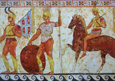 薩莫奈士兵,西元前4世紀壁畫。